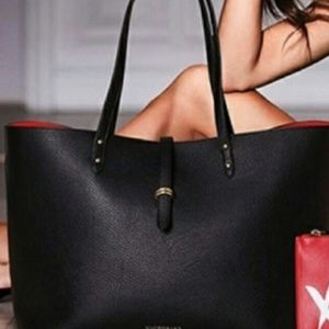 VICTORIA'S SECRET | Faux Leather Black Tote 4/$25